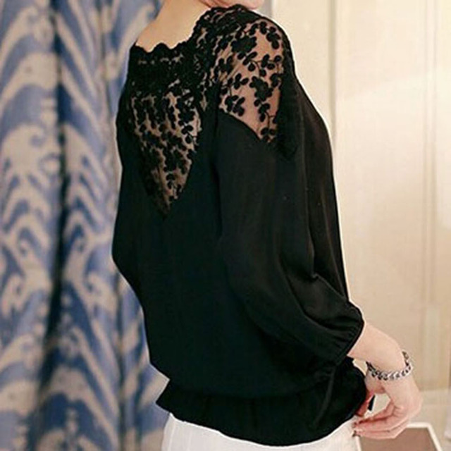 NEW Ladies Girl Women 34 Sleeve Lace Hollow Casual Chiffon Blouse Crop Tops S4