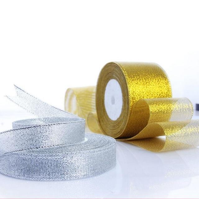 Handmade Vàng và Bạc Ribbon 25 Yard 22 M Ánh Kim Loại Cưới Giáng Sinh Trang Trí DIY Webbing Thẻ Gói Quà
