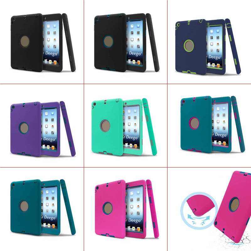 PC + Silicone Hybrid High Impact Defender Case Combo Hard Soft Case Cover for iPad Mini 1 2 3 QJY99