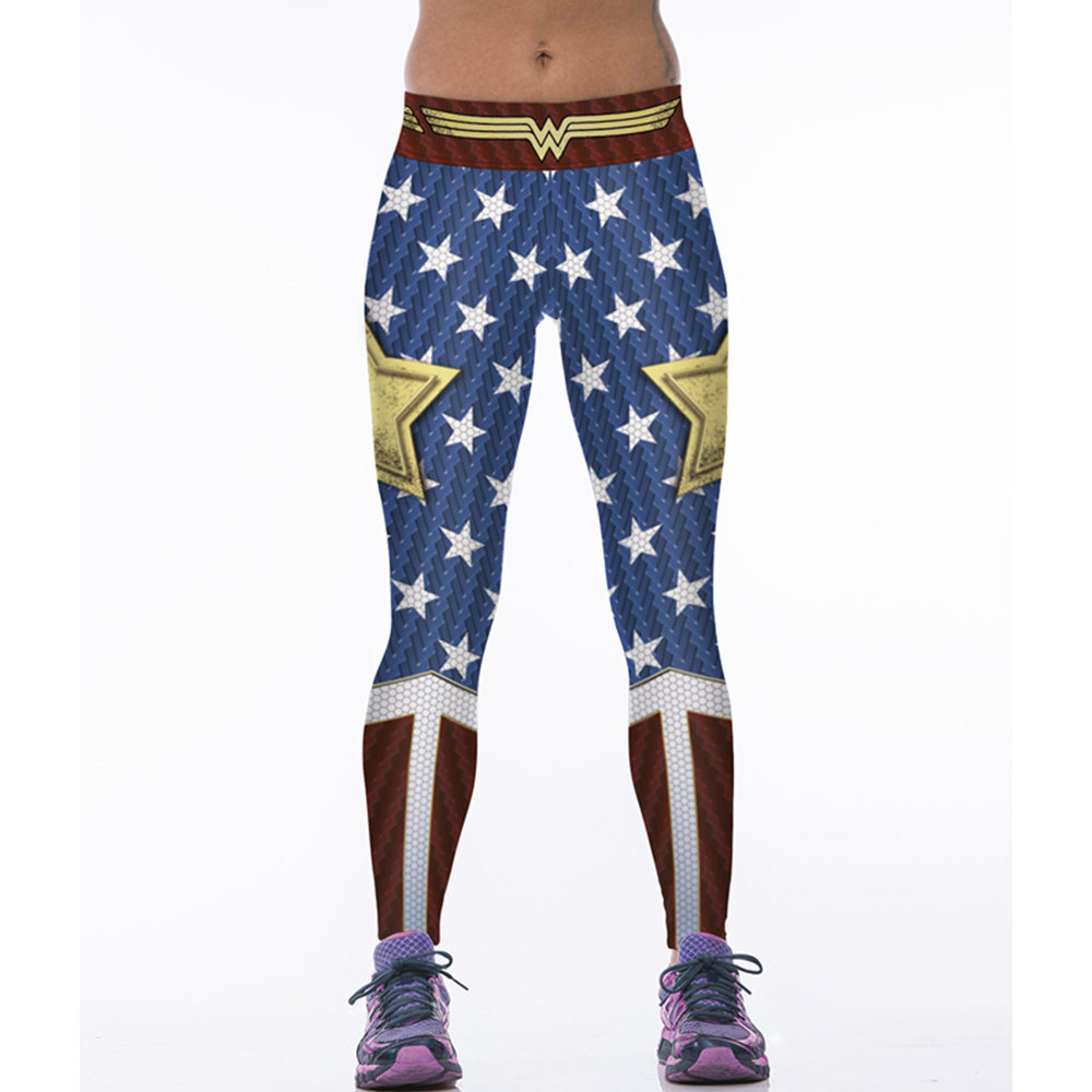 Women Leggings Sport Wonder Woman Cosplay Printed Elastic High Waist Gym Pant For Yoga Quick Dry Fitness Tights Running Trousers