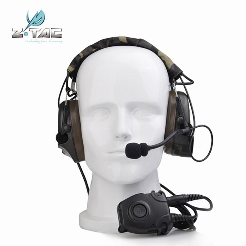 Z 전술 Comtac Peltor 헤드셋 Z054 전투 I 전술 소음 감소 이어폰 Z112 PTT 스탠드 rrb 버전