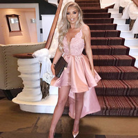 Pink V Neck Spaghetti Straps Prom Dresses High Low Ruffles Skirt Satin Homecoming Dress Appliques Asymmetrical Hem Party Gown