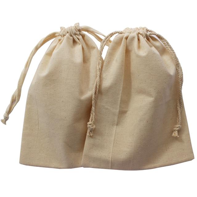 a65f4e950 (50 unids) tela de algodón orgánico drawstrigng bolsa crema algodón polvo  bolsa para regalo