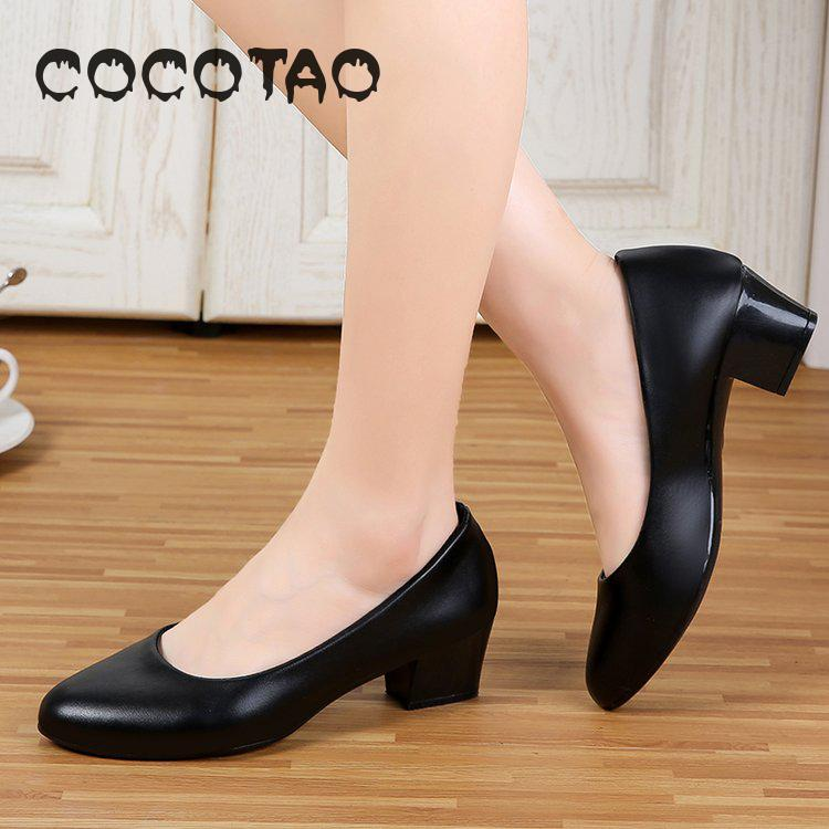 Black Stiletto High-<font><b>heeled</b></font> <font><b>Women</b></font> Round-headed Mothers Shoes Round-headed Middle-<font><b>heeled</b></font> 3cm Work Single Shoe Leather Shoes Ol <font><b>18</b></font> image