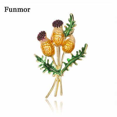 Funmor Bouquet émail broche fleur broches alliage pour femmes hommes fête de mariage vacances Corsage collier chapeau accessoires Bijoux présent