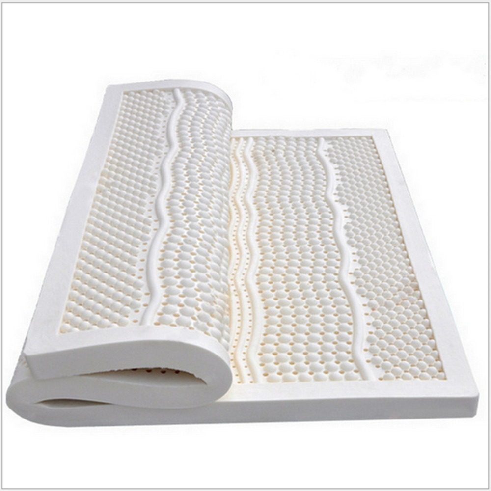 European  King Size 5CM Thickness  Ventilated  Seven Zone Mold 100%Natural Latex Mattress/Topper-With White Cover Midium Soft wfgogo thickness 23 cm spring mattress twin high density vacuum compression foam latex soft bed bedding