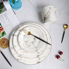 2018 new plate European Style Marble Pattern Ceramic Tableware Plate dinner plates Kitchen Dinnerware Dinner dropshipping