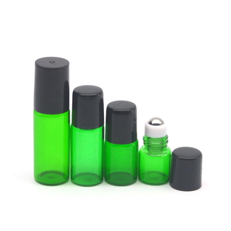 1pcs Empty 1ml 2ml 3ml 5ml Green Perfume Roller Glass Bottle Deodorant Container Essential Oil Sample Refillable Roll On Bottle