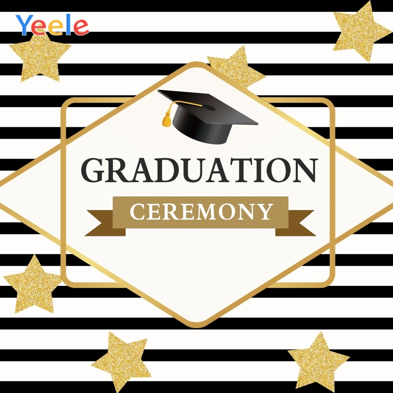 Yeele Graduation Ceremony Stripes Star Bachelo Hat Photography Backdrops Personalized Photographic Backgrounds For Photo Studio