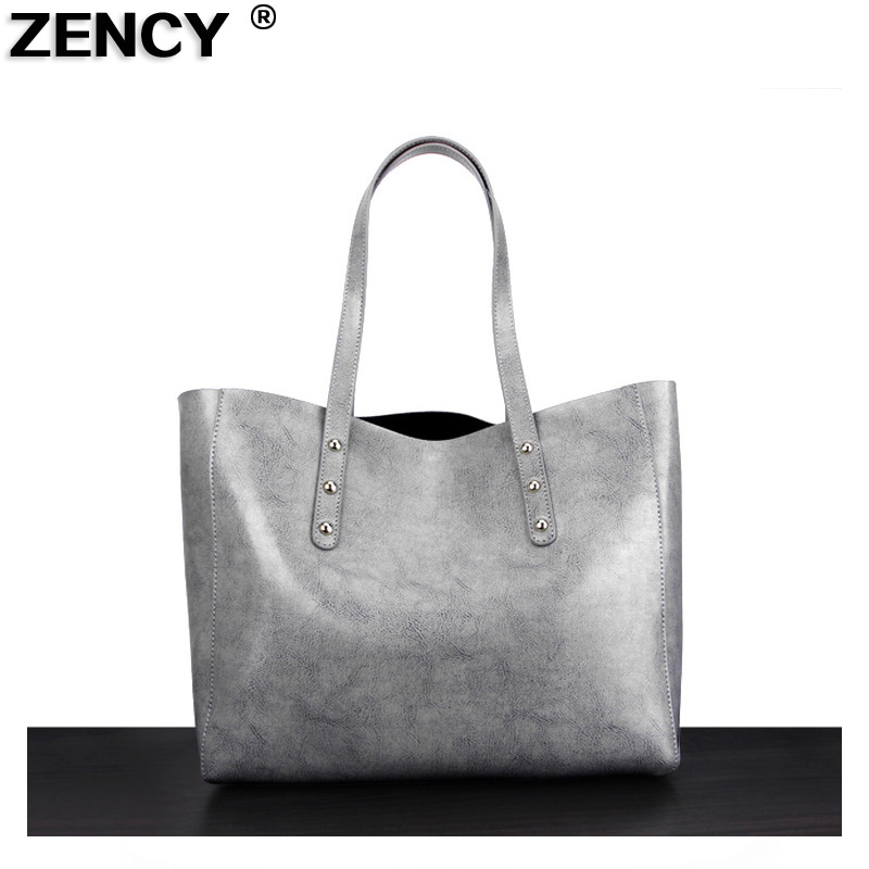 ZENCY Famous Brand Women Tote Shopping Bags Female Genuine Leather Woman Second Layer Cow Leather Shoulder Bag zency fashion shopping style handbags women bucket genuine second layer cow leather shoulder messenger cowhide tote bags