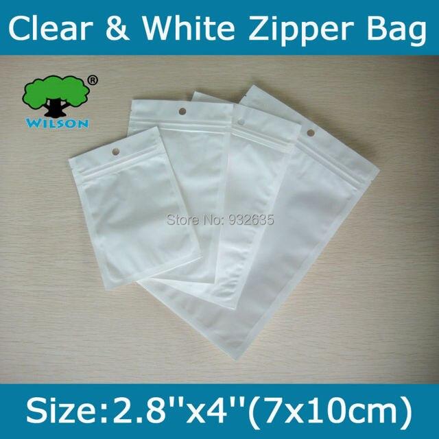 Pequeno 200 pcs 2.8 ''x 4'' (7x10 cm) Branco sacos Transparentes OPP Sacos Zip Saco do fechamento do Buraco Selo Zipper produtos Eletrônicos Saco de Varejo