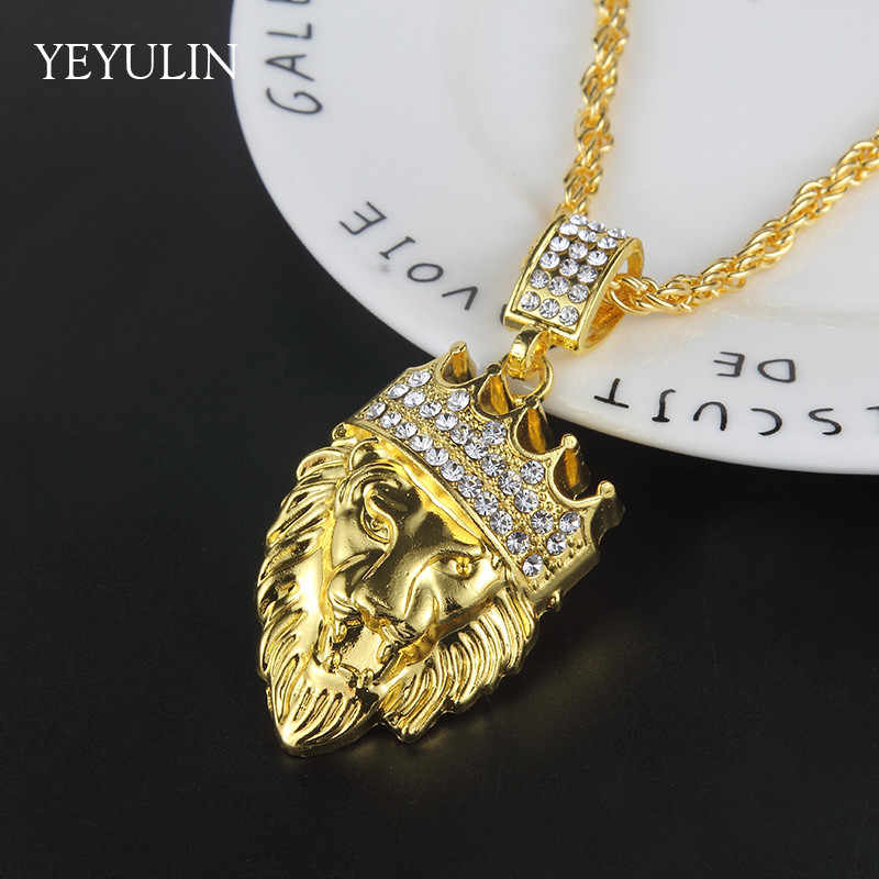 614a3f8407bd26 New Arrival Gold Color Good Crown Lion Head Crystal Pendant Statement  Necklace For Women Men Jewelry