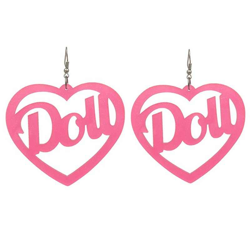 Nightclub Long Bling Hot Pink Heart Earrings for Women Shiny Letter Dou Drop Acrylic Big Earring Jewelry Pendientes Grandes