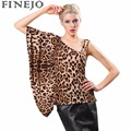 FINEJO 2016 Summer Style Lady Women Sexy One Shoulder Blouse Batwing Sleeve Leopard Slim Club Casual Tops Free Shipping