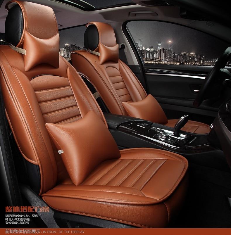 Black Brown Beige Orange Violet Pu Luxury Leather Car Seat Cover