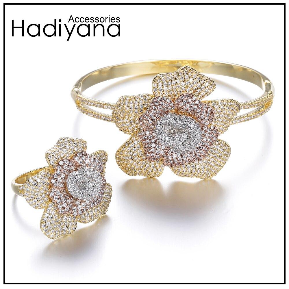 HADIYANA 2017 Flower Shape Bangle Ring 2pcs Jewelry Set AAA Cubic Zirconia 3 Tones Dubai Luxury