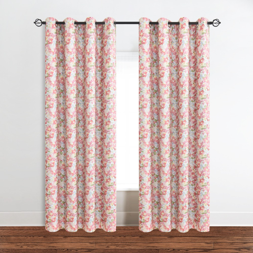 Red Floral Blackout Curtains Panels With Grommet,52Wx63L/52Wx84L/52Wx96L  Inch For Living Room(Set Of 1)