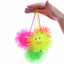 New Smile Face Puffer Ball With Flashing Light Throw Squeeze Spiky Massage Funny Toy Children Kids