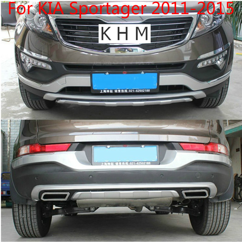 High quality plastic ABS Chrome Front+Rear bumper cover trim For KIA Sportager 2011-2015 Car-stylingHigh quality plastic ABS Chrome Front+Rear bumper cover trim For KIA Sportager 2011-2015 Car-styling
