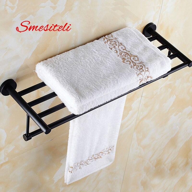 Smesiteli Promotions SUS304 50/60CM Hotel Towel Rack Bathroom Shelf Towel Bar Wall Mount Space Saving Matte Black Finish reflection spectroscopy shelf mount open pg207 15 to 50 70 100