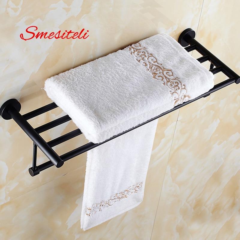 Smesiteli Promotions SUS304 50/60CM Hotel <font><b>Towel</b></font> Rack Bathroom Shelf <font><b>Towel</b></font> Bar Wall Mount Space Saving Matte Black Finish