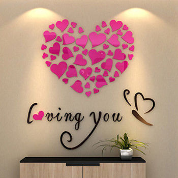 3D Acrylic Crystal Loving Heart Quote Wall Sticker 4Colors-Free Shipping For Bedroom Wall Stickers With Quotes