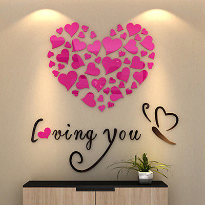 3D Acrílico Crystal Loving Heart Cita Pegatinas de Pared Art Home Decor Decal 4Colors