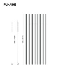 FUHAIHE 2/4/8PCS 130*6mm Kids Metal Straw Set Drinking 304 Stainless Steel Reusable with 110mm Brush For kids