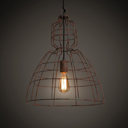 Loft Style Iron Cage Droplight Edison Vintage Pendant Light Fixtures For Dining Room Antique Hanging Lamp Home Lighting retro loft style iron cage droplight industrial edison vintage pendant lamps dining room hanging light fixtures home lighting