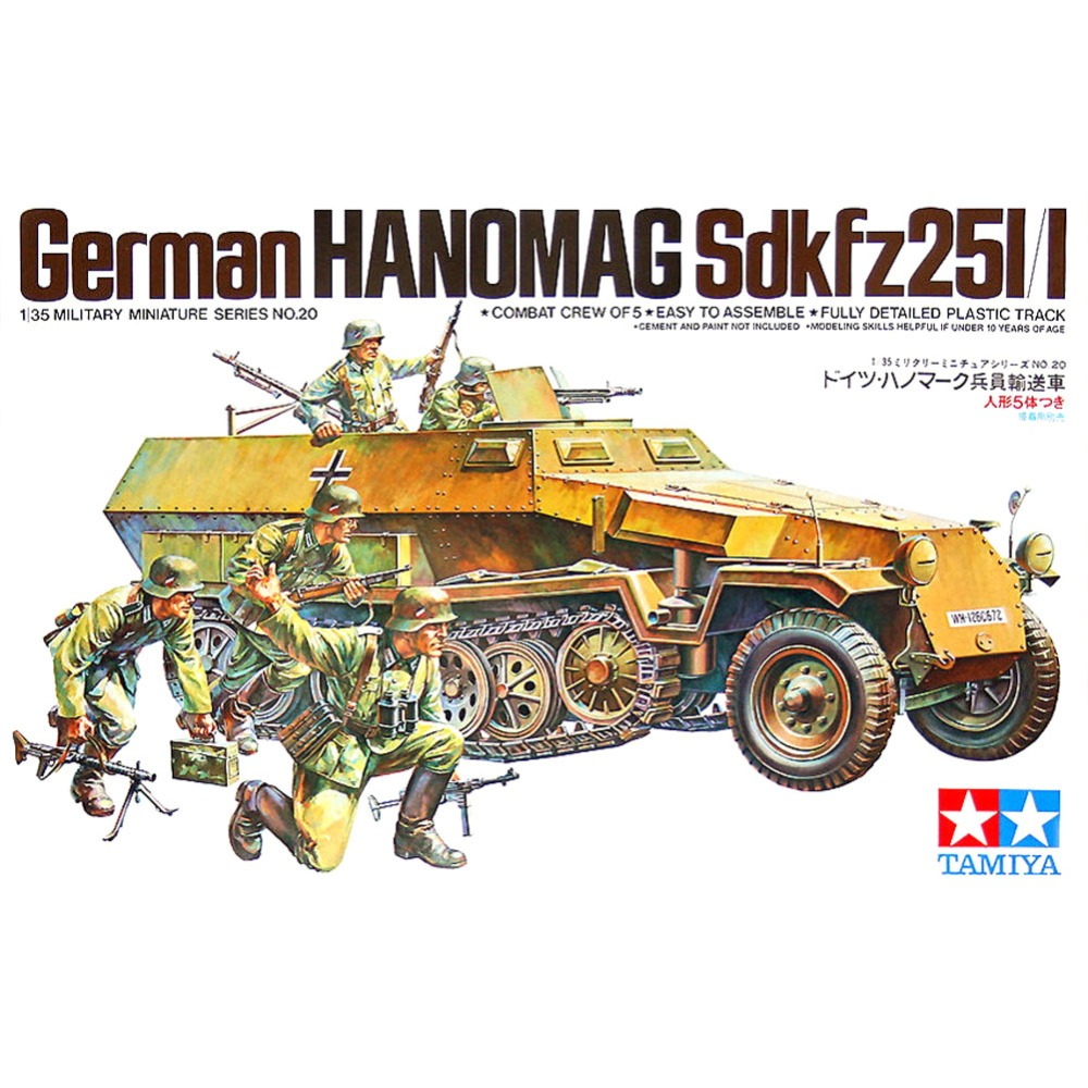 OHS Tamiya 35020 1/35 German Hanomag Sdkfz 251/1 w/5 Figures Military Assembly AFV Model Building Kits G ohs meng ts007 1 35 german main battle tank leopard 1 a3 a4 afv model building kits