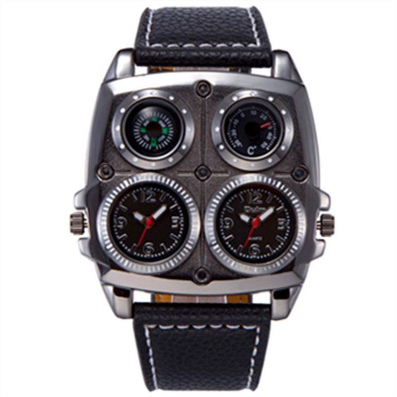 OULM 1140 Mens Dual Time Zone Military Watch with Compass Thermometer Big Square Face Leather Casual Quartz Watch Relogio Grande