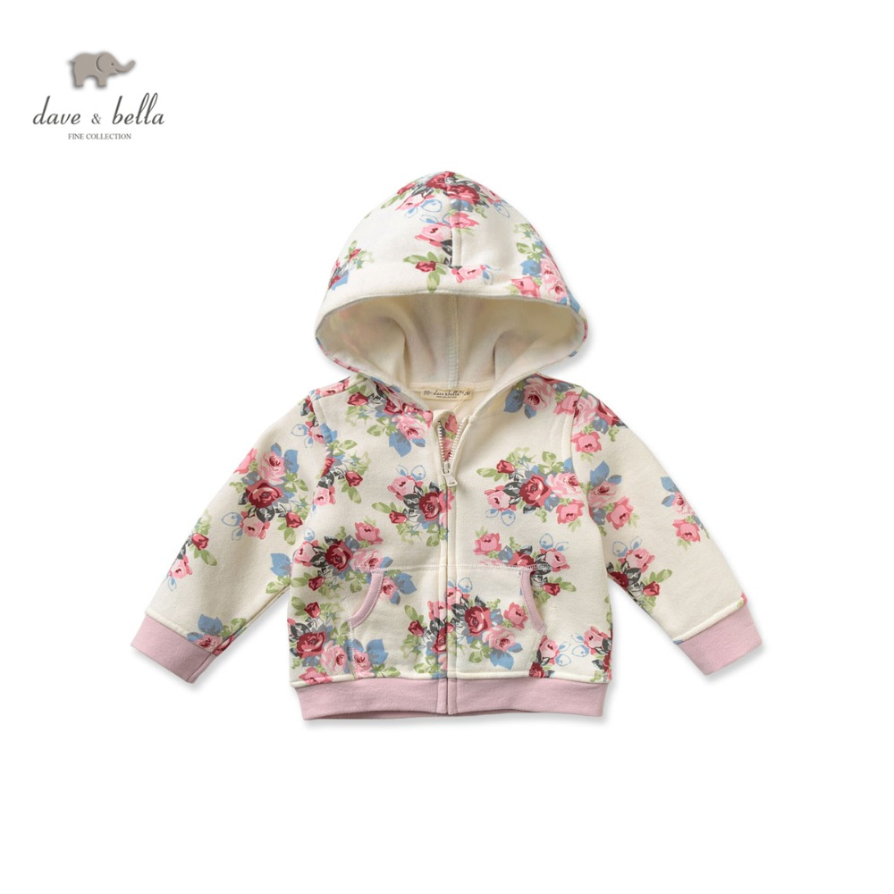 DB2548 dave bella spring autumn baby girl floral coat toddle clothes infant outerwear baby cotton tops kid coat children coat