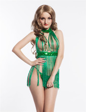 RW7711 Backless women sexy with tassel erotic underwear green sequin ladies sexy nighty sexy product babydoll lingerie sexy