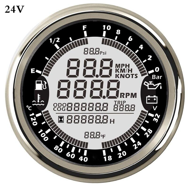 Multifunctional GPS Speedometer for Car Boat Digital Speed Gauge Meter rpm REV Counter Tachometer Fuel Level Oil Pressure 10bar