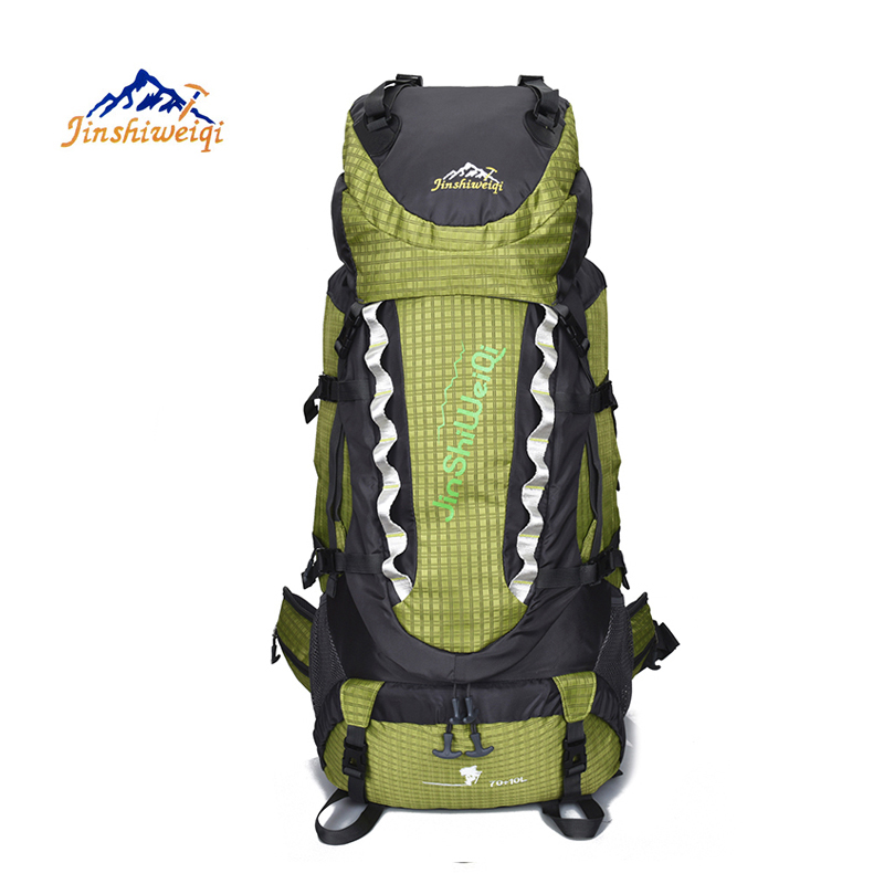 JINSHIWEIQI Outdoor Backpack 80L Hiking Trekking Bag font b Camping b font Travel Water resistant Pack