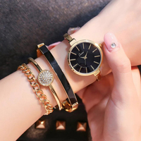 Cacaxi Luxury Women Watches Alloy Gold Jewelry Bracelet Wristwatch Women Dress Popular Watch Set 4pcs Relogio Feminino A141