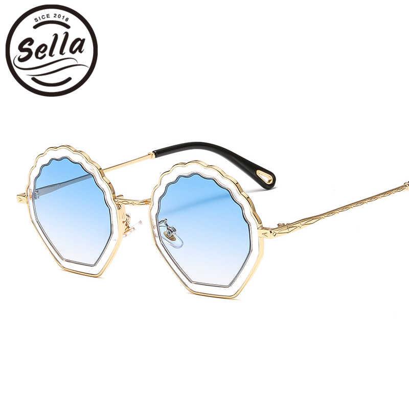 242765b8b9d Sella Luxury Brand Women Sunglasses Alloy Frame Candy Color Gradual Tint  Lens Irregular Shell Shape Ladies