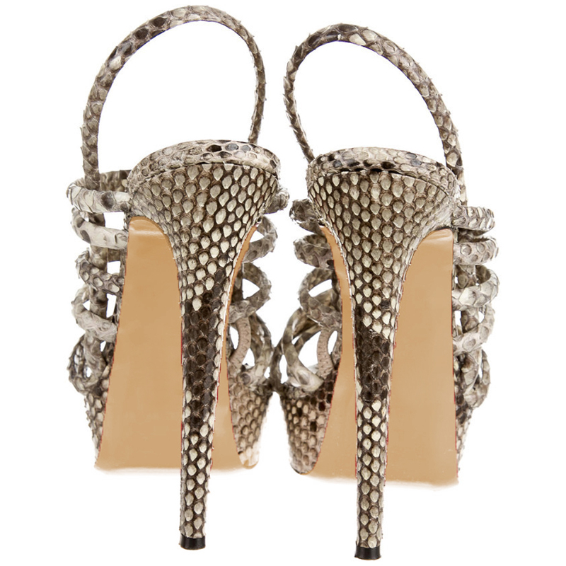 b3429db5ab4a 2018 Summer Grey Slides Slingback Sandals Women Shoe Female Snakeskin Platform  Strap High Heels 14cm Dress Party Casual Size 43 -in Women s Pumps from  Shoes ...
