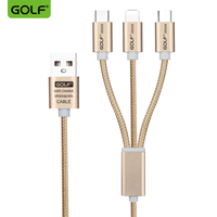 GOLF 3 In 1 Micro USB Nylon Braid Data Cable Type C USB C Phone Charger