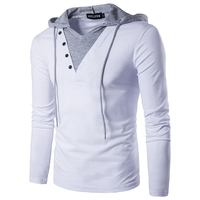 Men S T Shirt 2017 Summer Fashion Hooded Sling Long Sleeved Tees V Collar Male Fake