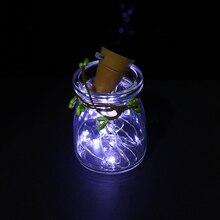 1Pc New Fashion Solar-powered Wine Bottle Cork-shaped String Starry Light 10 LED Night Fairy Light Lamp Xmas HQ