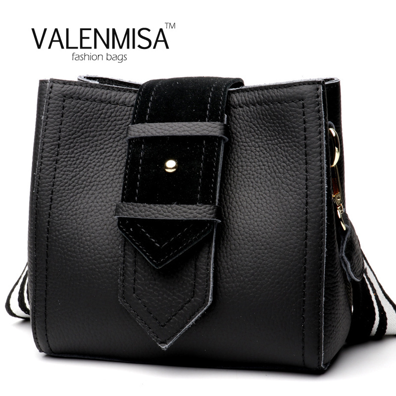 Famous Brand VALENMISA Designer Handbags High Quality Genuine Leather Bucket Bag For Women Vintage Ring Shoulder Bag Small Tote цена