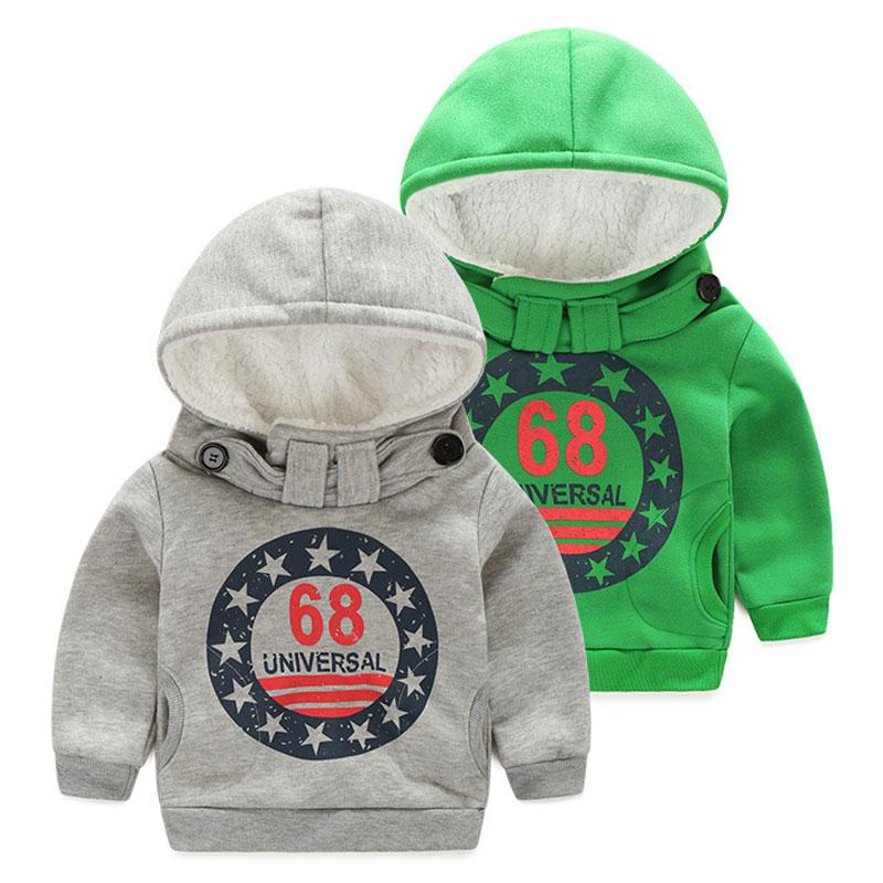 Kids Boys Autumn Winter Thicken Outerwear Fashion Coat Baby Letter Jackets Warm Hooded Children Boy Add Wool Casual Sweatshirts