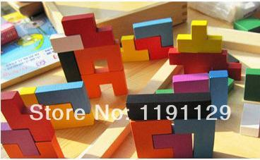 Wooden Tetris  toys 3D puzzles for children learning and educational toys