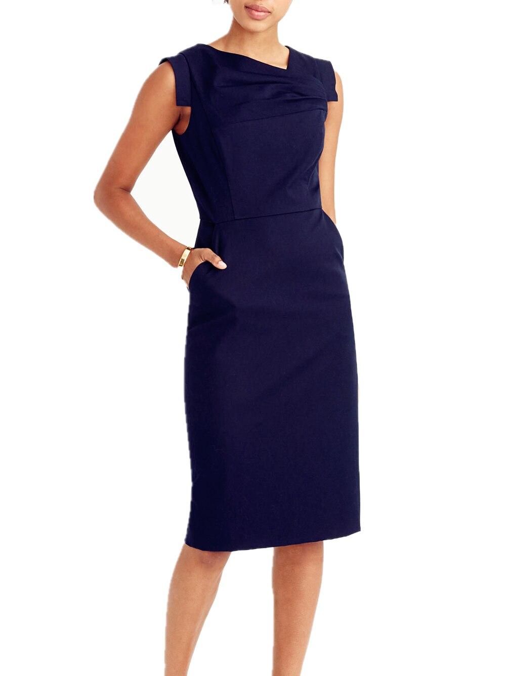 ce07d4d700 Florescendo Geléia Ruched Simples Elegante Mulheres Trabalho de Escritório  Vestido Preto Básico Com Bolso Sem Mangas Forrado Vestido de Negócios 2017  ...