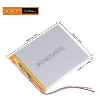 3 fios 5000mah li ion 307090 7 8 9 polegada tablet pc icoo bateria 3.7 v polímero bateria lithiumion akb navigator Baterias recarregáveis     -