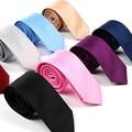 Venda quente Homens Gentlman Neck Skinny Tie Gravatas Moda Estilo Fino Simplicidade Design Festa de Casamento Formal Gravata de Seda Sólida