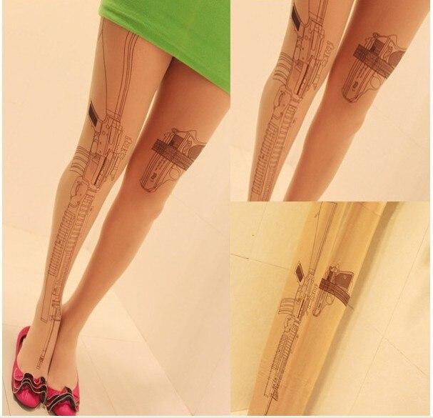 2PC cool design Machine Gun style Tattoo Print Pattern good quality Pantyhose Stockings Tights retail pack