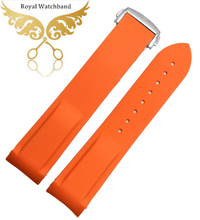 NEW O r a n g e Silicone Rubber Watch Strap Band Deployment Buckle Waterproof 20mm