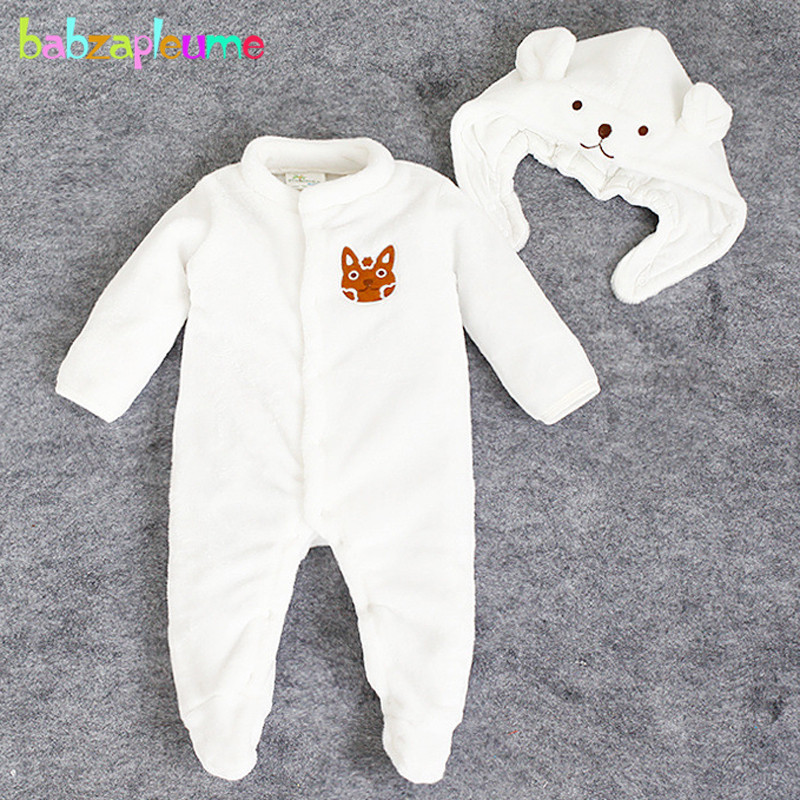 2PCS 0 24Months Autumn Winter Newborn Rompers Clothing Set Flannel Cartoon Cute Baby Costume Jumpsuit Hats